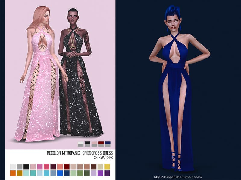 helgatisha Recolor NitroPanic CrissCross Dress - Mesh needed - Sims