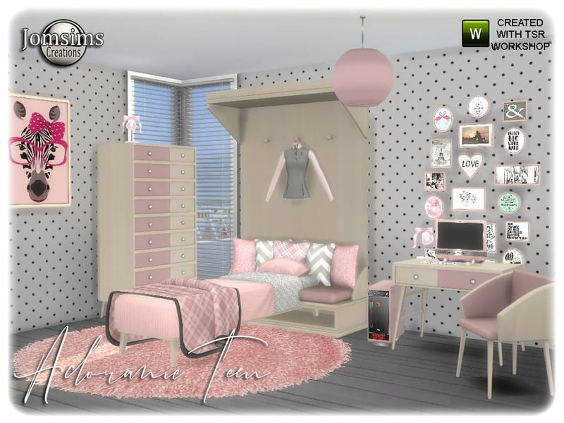 Adoranie teen bedroom - Sims 4 Mod Download Free