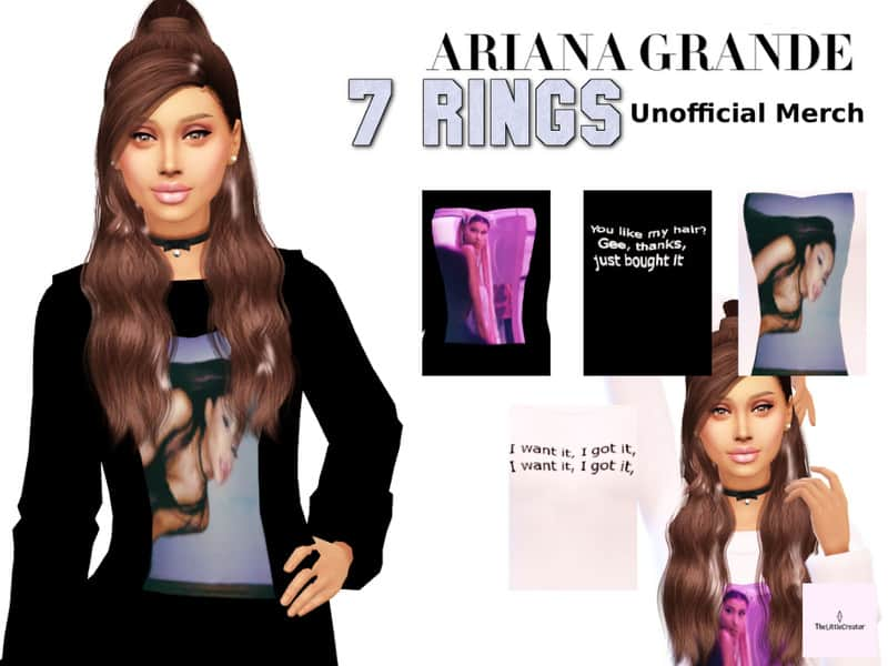 Ariana Grande 7 Rings Unofficial Merch - Sims 4 Mod Download Free