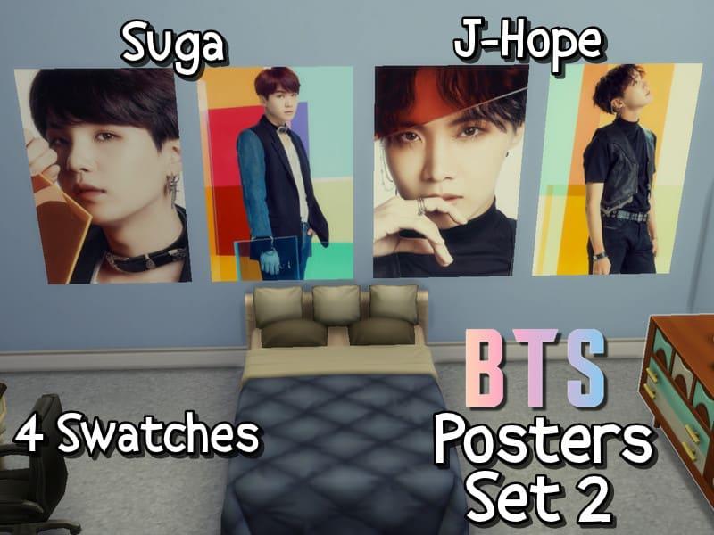 BTS Fake Love JPN Posters (Suga + J-Hope) - Sims 4 Mod