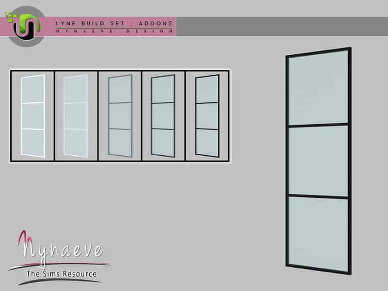 Lyne Build Addons - Glass Panel - Sims 4 Mod Download Free