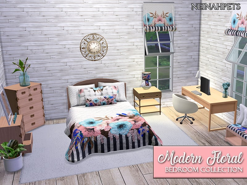 Modern Floral Bedroom {Mesh Required} - Sims 4 Mod Download Free
